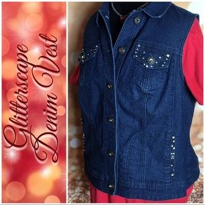 Glitterscope Embellished Denim Vest